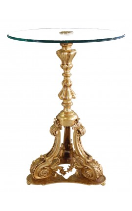 Pedestal table Louis XV Style bronze and glass top