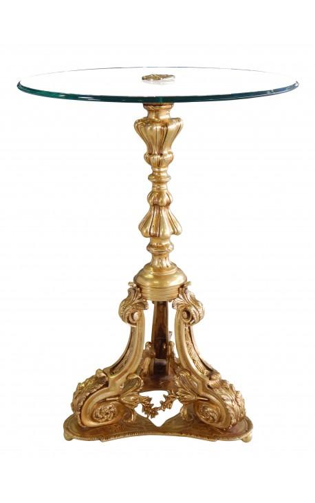 Table guéridon de style Louis XV en bronze et plateau en verre