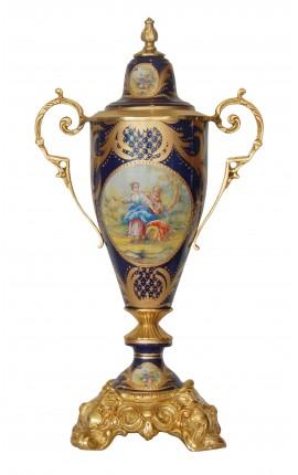 Grand vase en céramique émaillée bleu avec bronzes