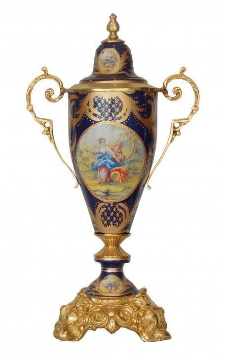 Большая ваза эмалью голубой керамической бронзы