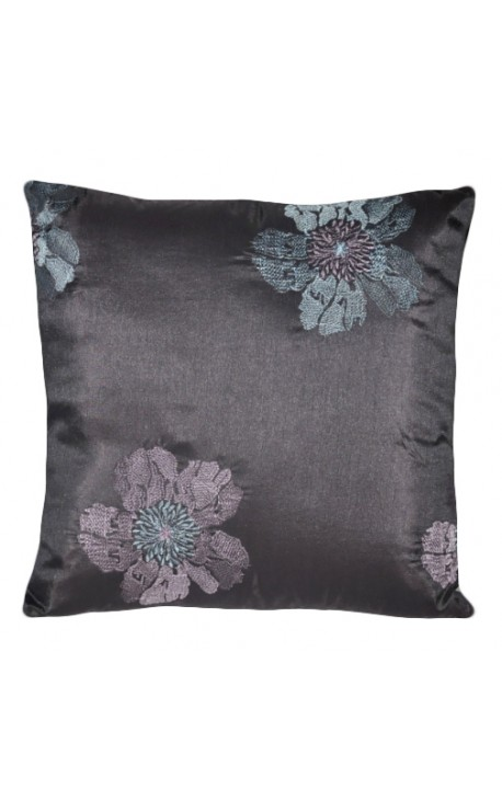 "Cushion ""Embroidered Flowers"" Purple 40 x 40"