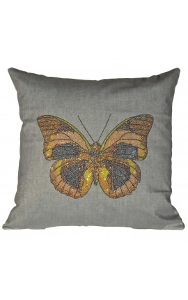"Cushion ""butterfly with glitter"" Gray 40 x 40"