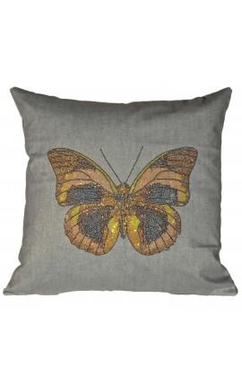 """Coussin """"Papillon avec paillettes"""" Gris 40 x 40"""