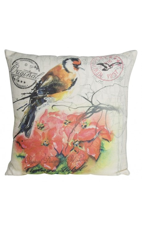 "Cushion ""printed with bird"" red and beige 40 x 40"