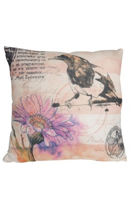 "Cushion ""printed with bird"" pink and beige 40 x 40"