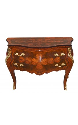 Marquetry dresser 2 drawers Louis XV style with bronzes ormolu