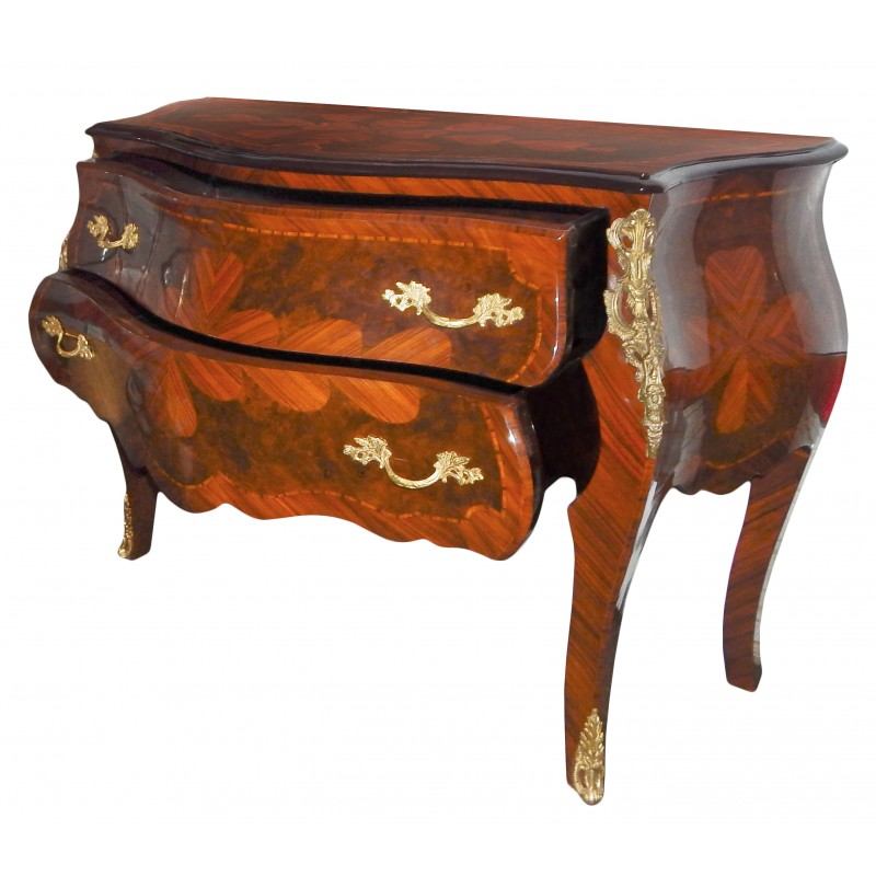 marquetry commode 2 drawers louis xv style with bronzes ormolu. Black Bedroom Furniture Sets. Home Design Ideas
