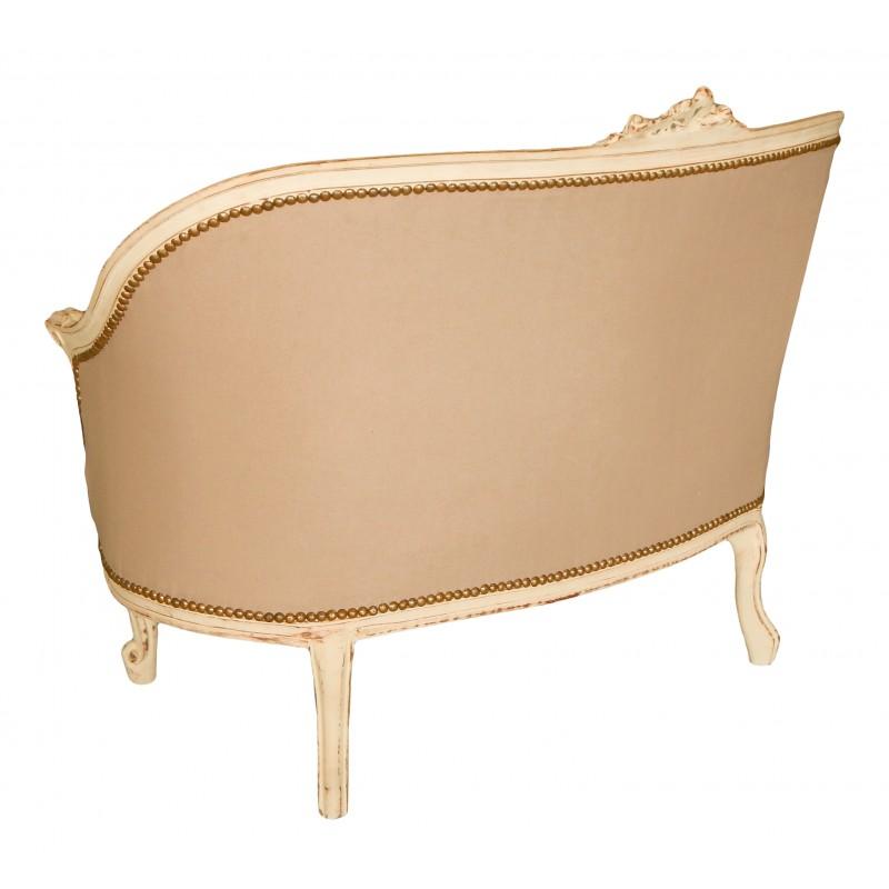 canap de style louis xv tissu couleur lin beige et bois. Black Bedroom Furniture Sets. Home Design Ideas