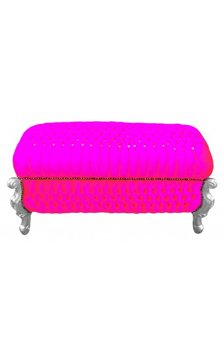 Big baroque bench trunk Louis XV style fuchsia velvet fabric with cristals and silver wood