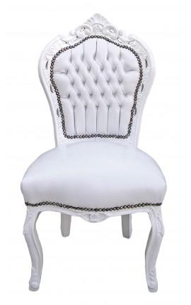 Chaise de style Baroque Rococo tissu simili cuir blanc et bois laqué blanc