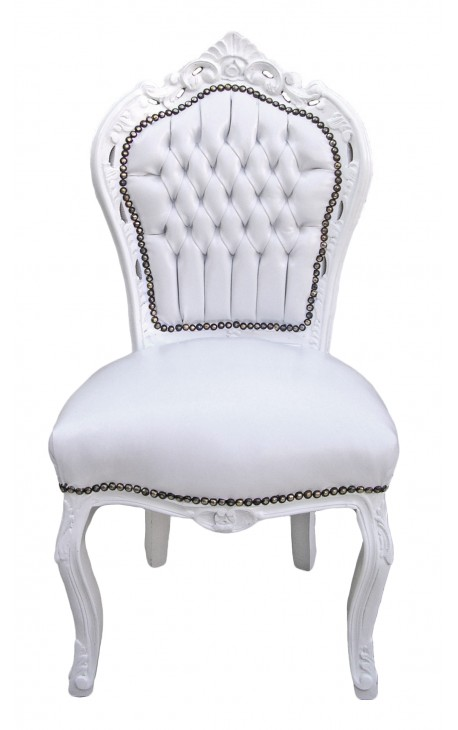 Baroque rococo style chair white leatherette and white wood
