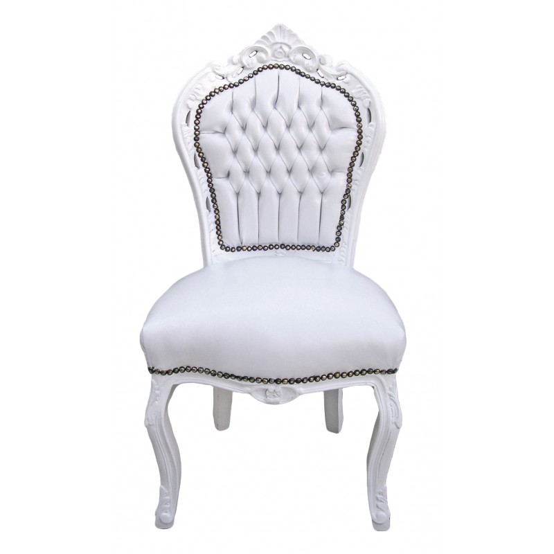 chaise de style baroque rococo tissu simili cuir blanc et. Black Bedroom Furniture Sets. Home Design Ideas