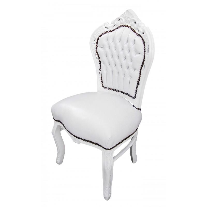 Chaise de style baroque rococo tissu simili cuir blanc et for Chaise bois blanc