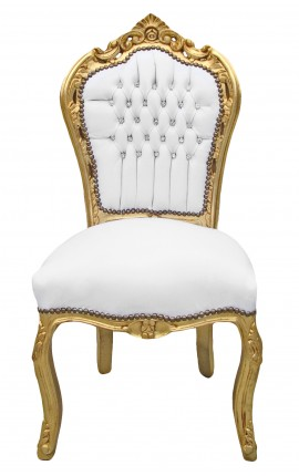 Baroque rococo chair style white leatherette with rhinestones and gold wood