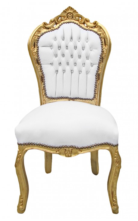 Beau Baroque Rococo Chair Style White Leatherette With Rhinestones And Gold Wood