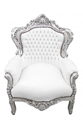 Big baroque style armchair white faux leather and silver wood