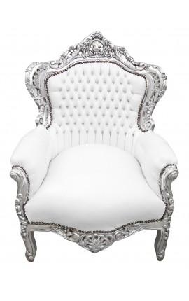 Grand fauteuil de style baroque tissu simili cuir blanc et bois argent
