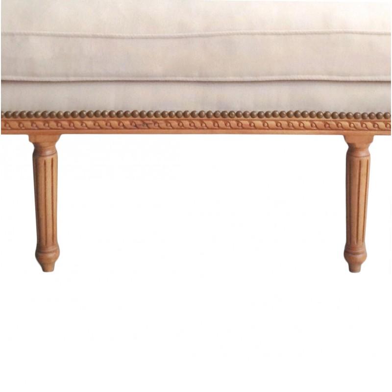 de style Louis XVI tissu couleur lin beige et bois naturel
