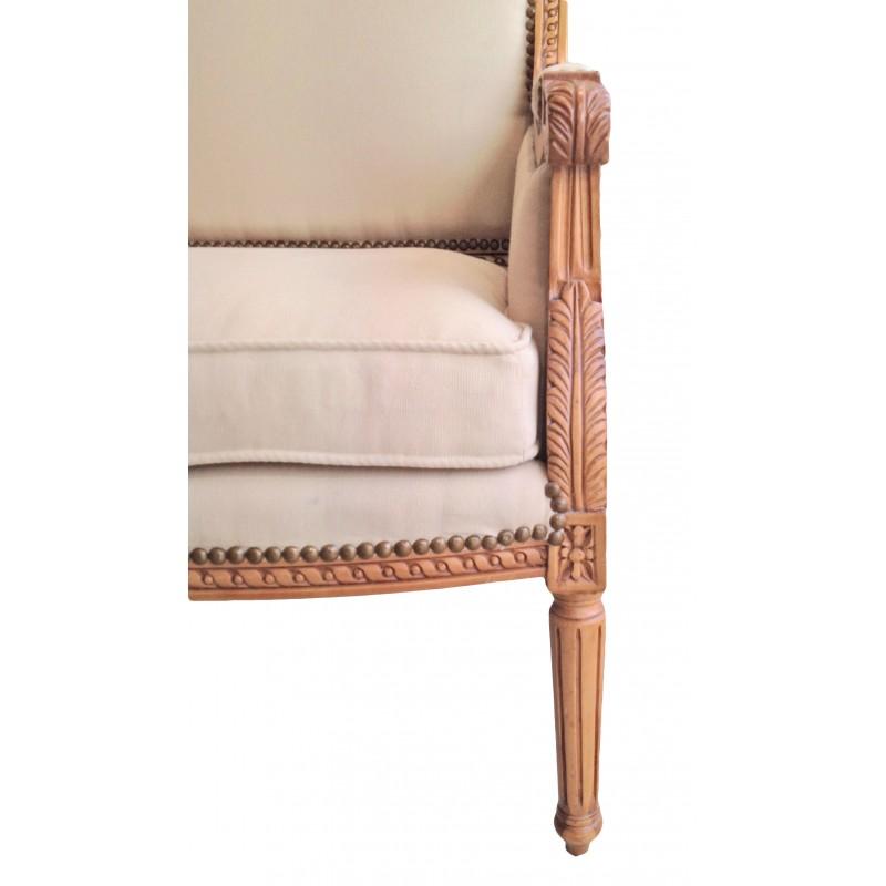 Canap de style louis xvi tissu couleur lin beige et bois for Canape en bois et tissu