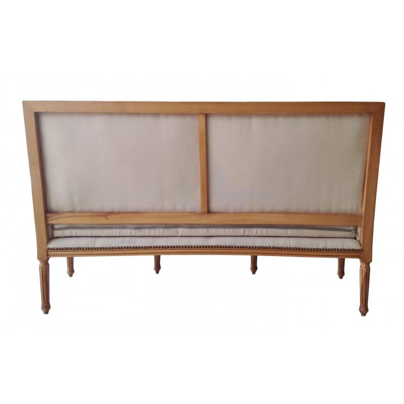 Canap de style louis xvi tissu couleur lin beige et bois - Canape style campagne chic ...