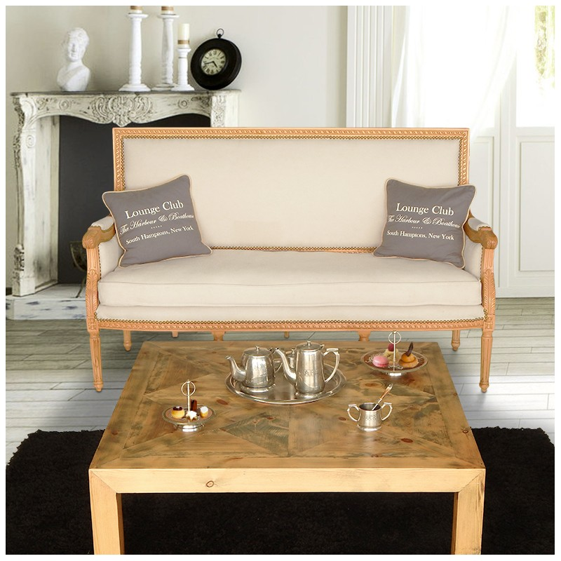 Sofa Louis Xvi Style Beige Linen Fabric And Natural Wood
