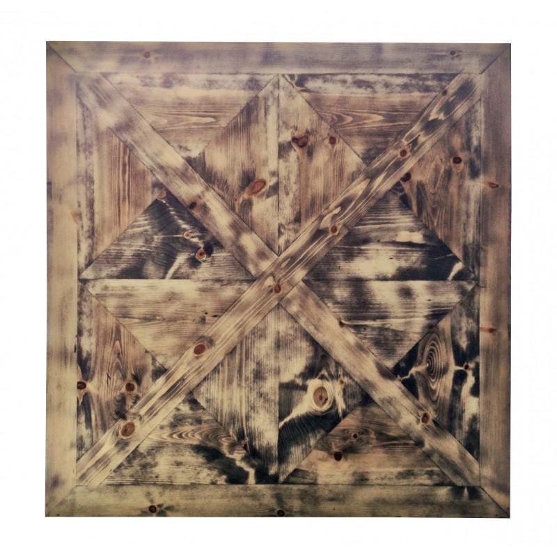 grande table basse carr e en bois avec plateau fa on parquet ancien. Black Bedroom Furniture Sets. Home Design Ideas