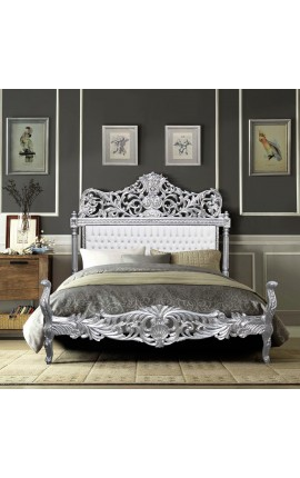 Baroque bed fabric faux leather white with rhinestones and silvered wood