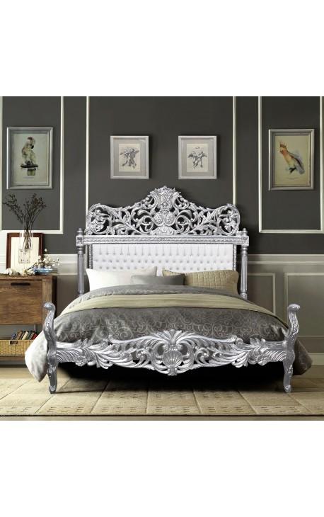 Барокко кровать ткани ложным кожа белый со стразами и посеребренного дерева