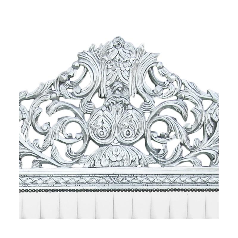 Lit Baroque Tissu Simili Cuir Blanc Avec Strass Et Bois Argent