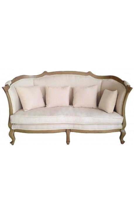 canap classique campagne chic tissu couleur lin beige et bois naturel. Black Bedroom Furniture Sets. Home Design Ideas