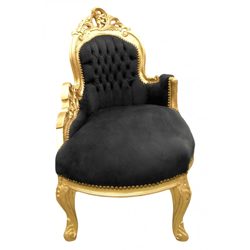 Baroque chaise longue black velvet with gold wood for Black velvet chaise lounge