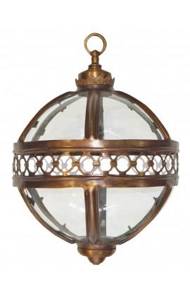 Lanterne ronde de hall d'entrée en bronze patiné 40 cm