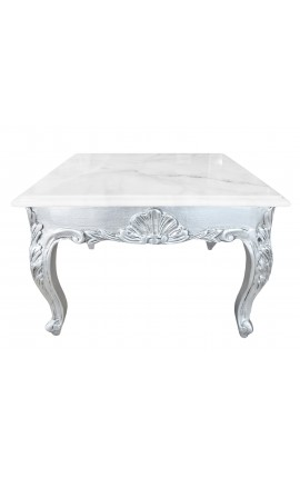 Table basse carrée de style baroque avec bois argenté et marbre blanc