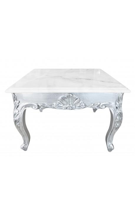Table Basse Carree De Style Baroque Avec Bois Argente A La Feuille