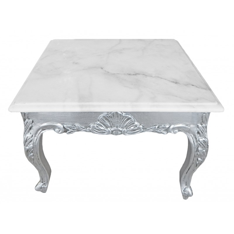 White Marble Top Coffee Table Rectangle: Square Coffee Table Baroque Style Wood Silvered With Leaf