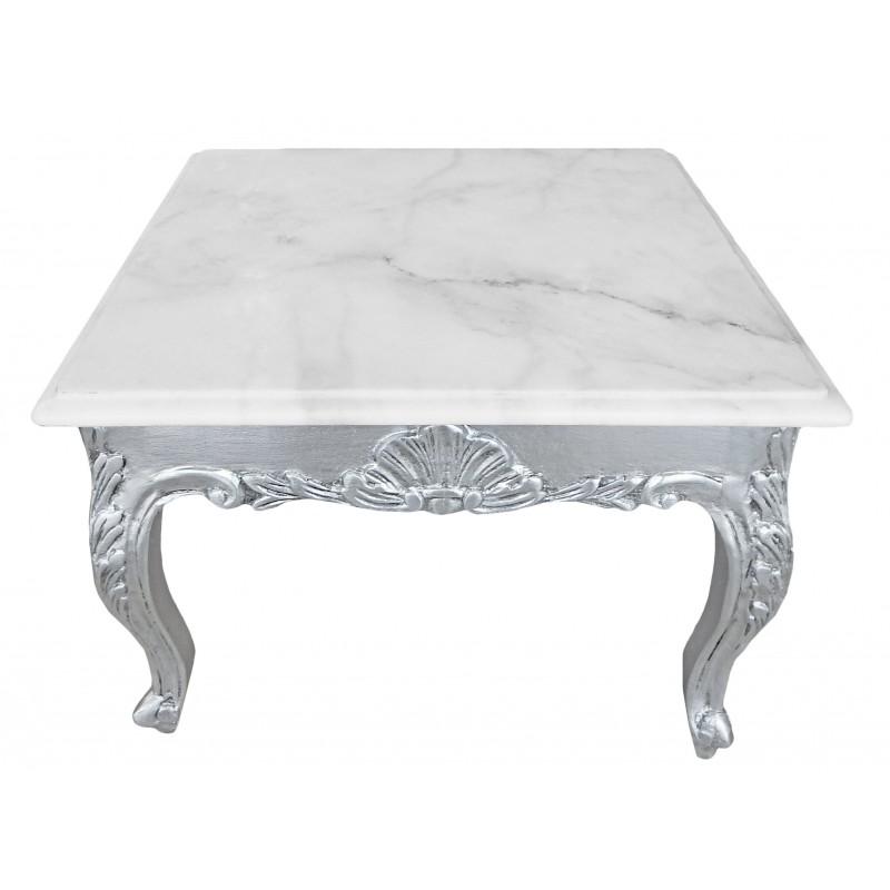 Table basse carr e de style baroque avec bois argent la for Table basse marbre blanc