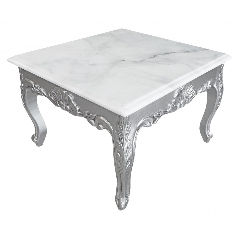 table basse carr e de style baroque avec bois argent la feuille et plateau en marbre blanc. Black Bedroom Furniture Sets. Home Design Ideas