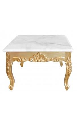 Table basse carrée de style baroque avec bois doré et marbre blanc