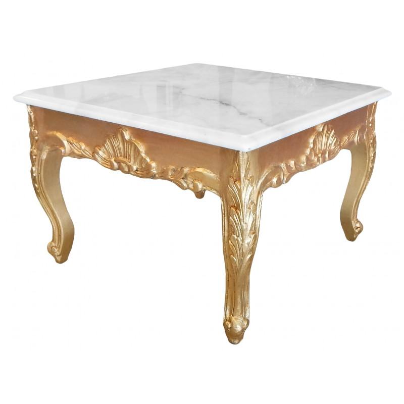 table basse carr e de style baroque avec bois dor la feuille et plateau en marbre blanc. Black Bedroom Furniture Sets. Home Design Ideas