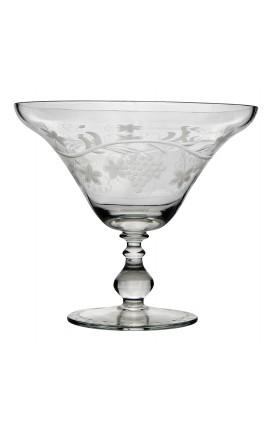 Coupe à fruit en verre soufflé et taillé à la main