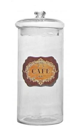"Coffee pot blown glass with enamel label ""Café"""
