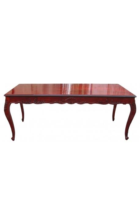 Table de repas baroque en bois teinté acajou
