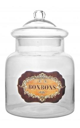 """Grand pot à bonbons en verre soufflé avec étiquette émaillée """"Bonbons"""""""