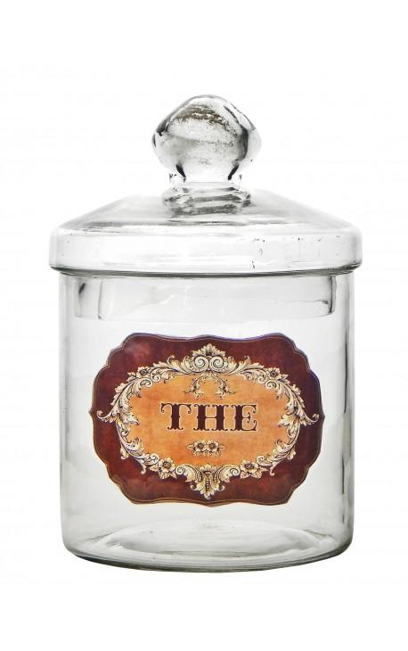 "Tea pot blown glass with enamel label ""Thé"""