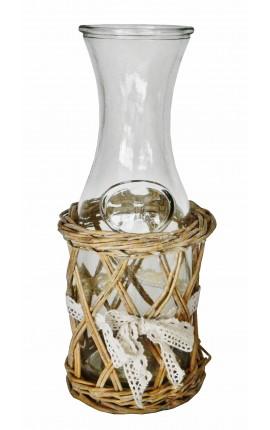 Carafe à eau avec support en osier et noeud en dentelle