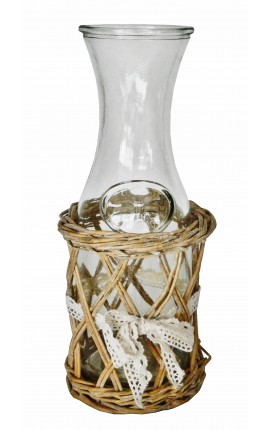 Water jug ​​with wicker holder and bow lace