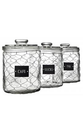 """Ensemble de 3 bocaux grillagés avec étiquettes """"Thé, Sucre, Café"""""""