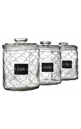 "Set of 3 jars with labels grid ""Thé"", ""Sucre"", ""Café"""
