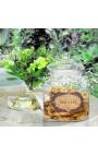 """Grand pot à biscuits en verre soufflé avec étiquette émaillée """"Biscuits"""""""