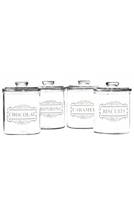 "Set of 4 glass jars ""Biscuits, Bonbons, Caramel, Chocolat"""